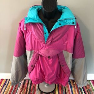 80s Ski Snow Jacket Winter Coat Neon Retro Medium